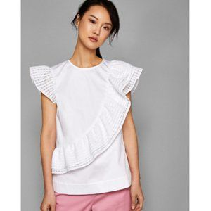 NWOT Ted Baker Double Ruffle White Top Sz. 0